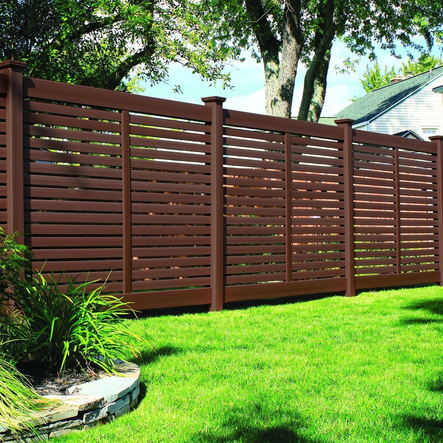 Bufftech Breezewood Select Cedar Vinyl Fence Sections Modern Design In 2020 Vinyl Fence Fence Design Fence Sections