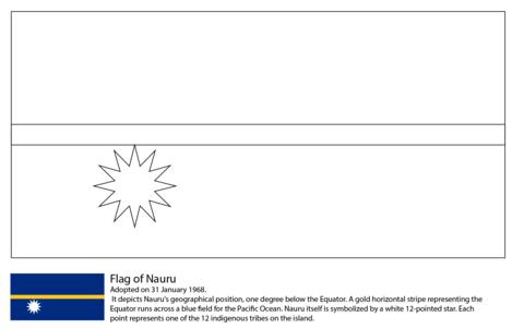 Bandera de Nauru Dibujo para colorear | Países de Oceanía Australia ...