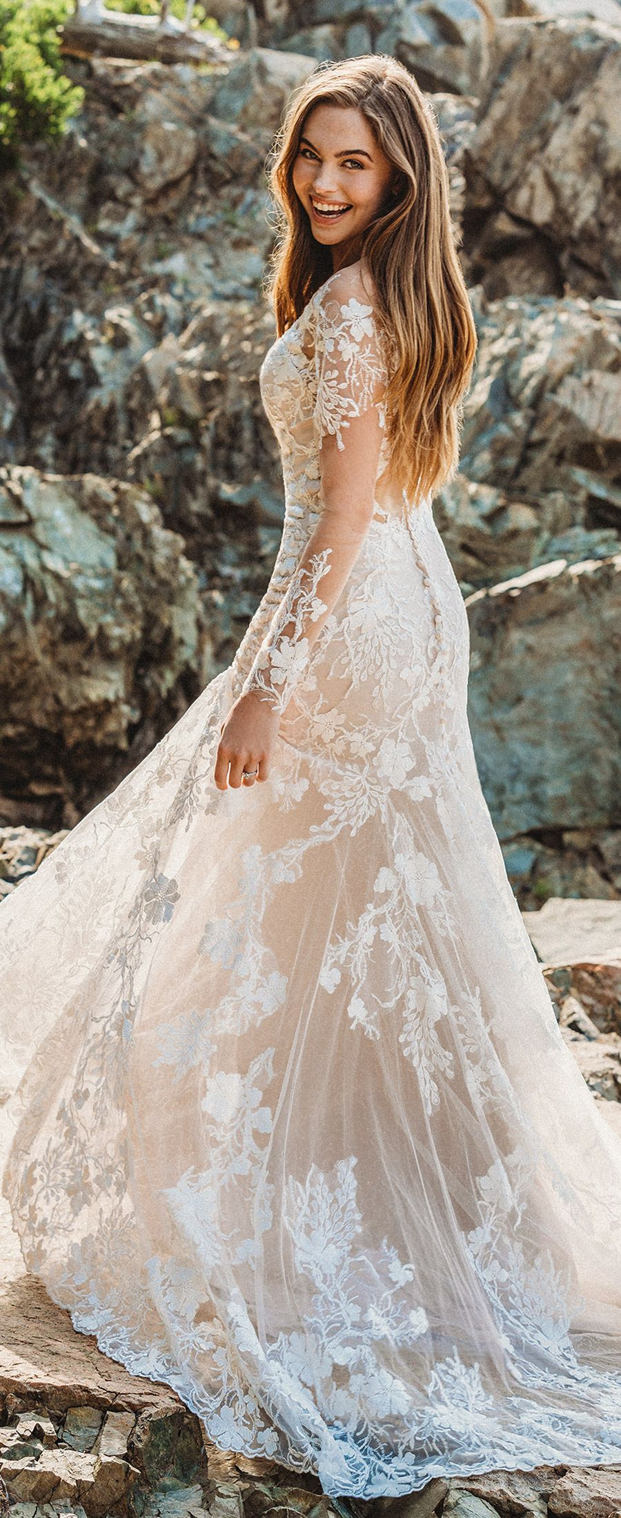 Ad Gorgeous Wedding Dress By Allure Bridals This Long Sleeve Floral Lace Sheath Gown Featur Bridal Dresses Mermaid Lace Wedding Dress Vintage Wedding Dresses [ 2200 x 900 Pixel ]