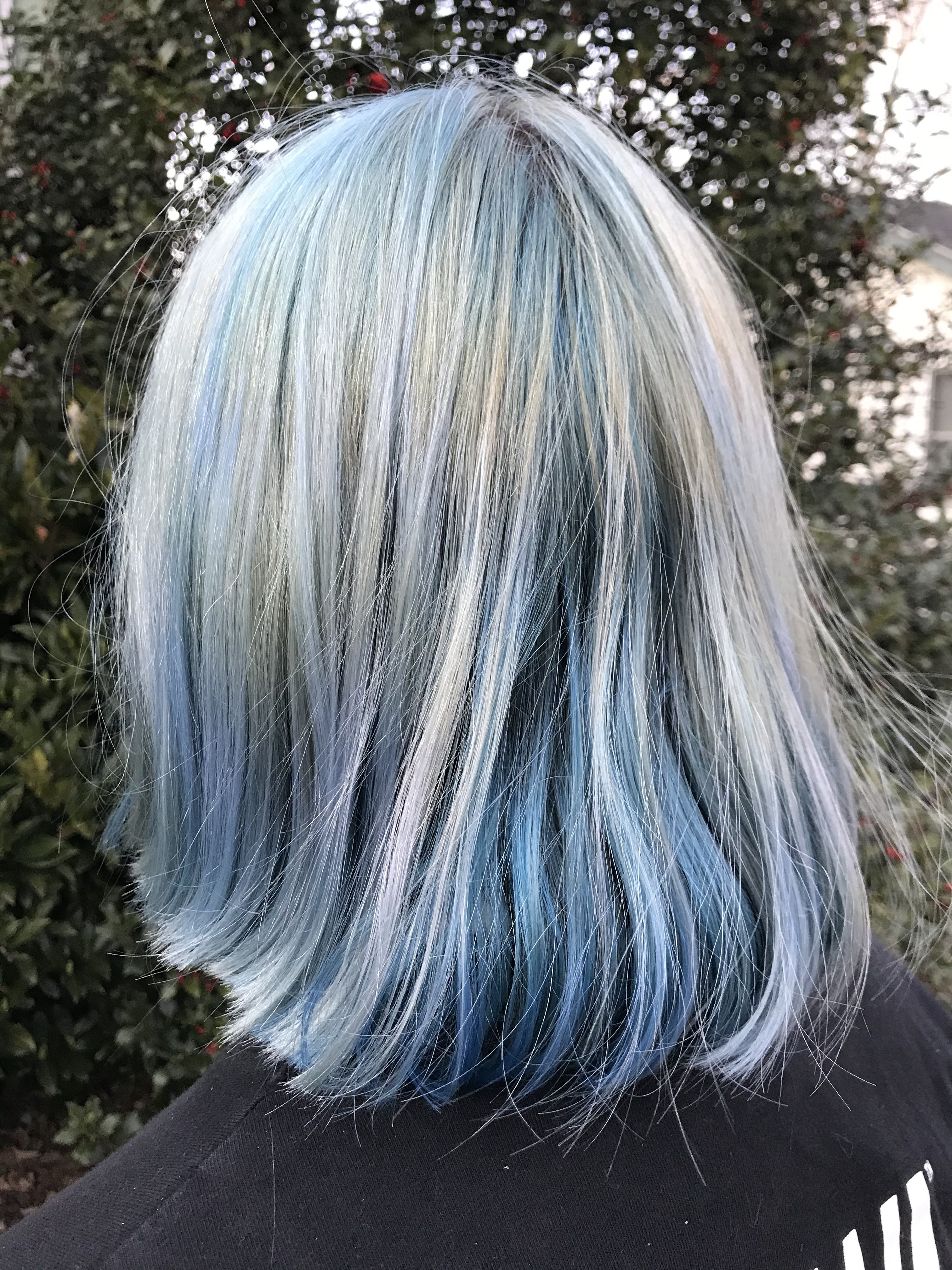 Faded Denim Haircolor Manic Panic Bad Boy Blue Arctic Fox Poseidon Underneath Near Nape Of Neck Washed Out For In 2020 Creative Hair Color Artic Fox Hair Hair Color