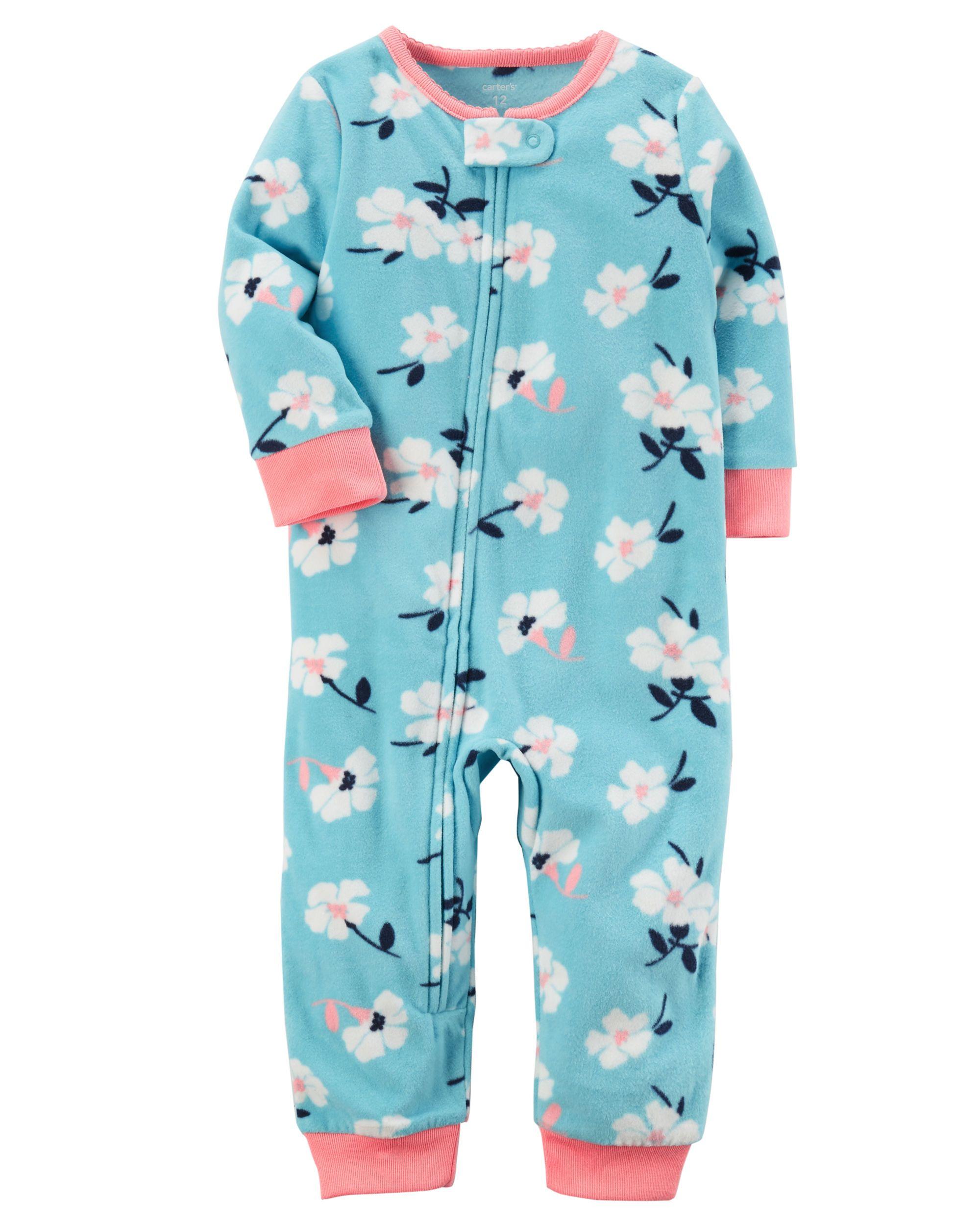 589507cbb636 1-Piece Floral Footless Fleece PJs