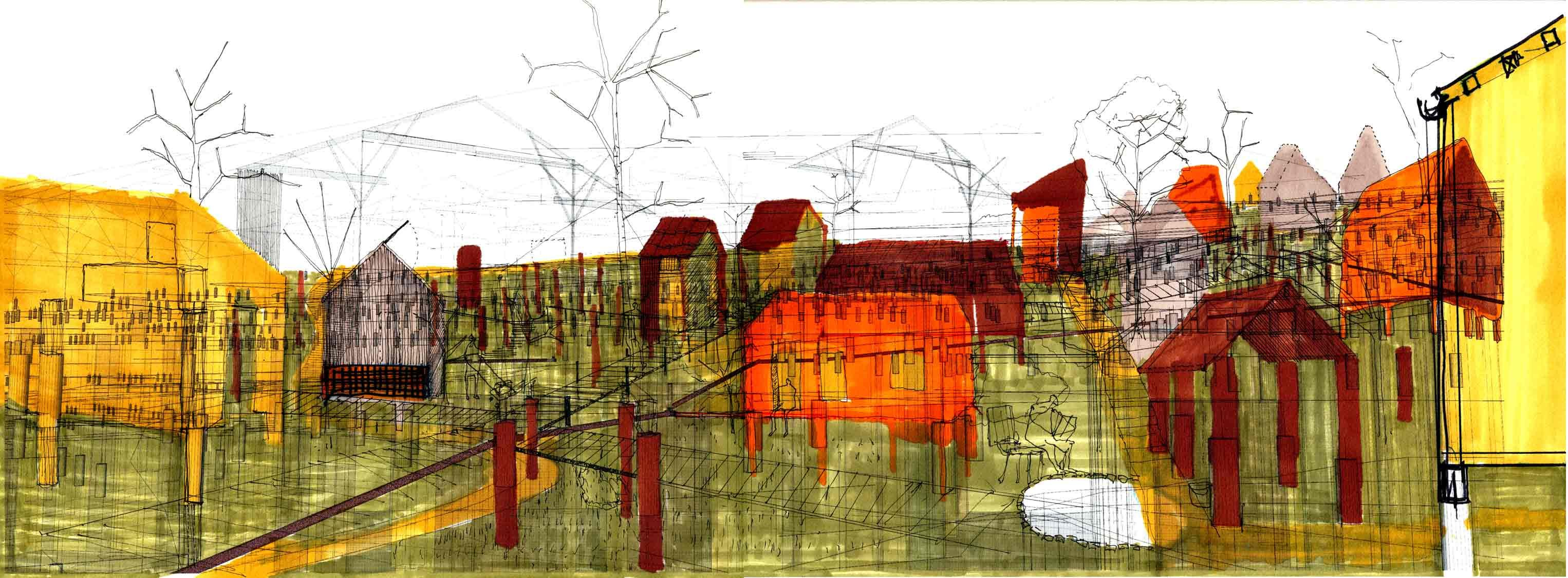 Life on the Lots (2) -- 2012 23.4″ x 8.8″ digital drawing (3D model), ink and colour markers on paper -- 127-Jonas Larsen-15 -- http://www.jonasguneriuslarsen.com/