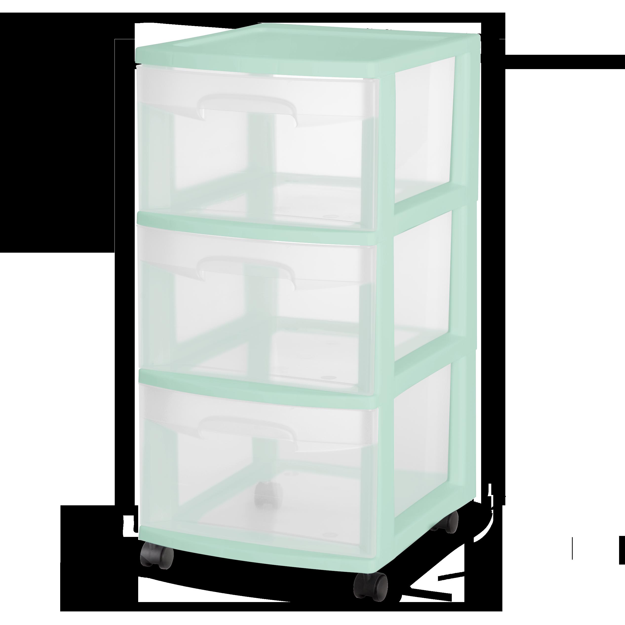 Sterilite 3 Drawer Cart Classic Mint
