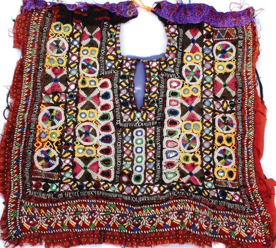 Banjara front dressing neck yoke Mirror work and embroidery patch. Indian vintage banjara neck yoke Thread with embroidery work