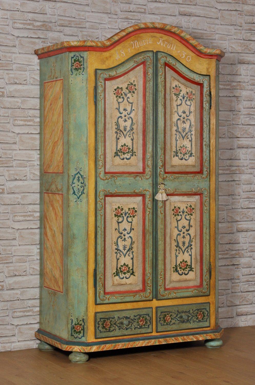 Armadio decorato a mano a 2 ante e 2 cassetti con cimasa