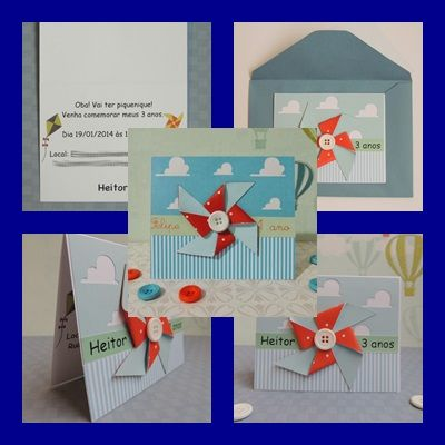 Ideia super fofa pra convite de aniversário ou chá de bebê *-* // http://www.elo7.com.br/convite-catavento/dp/219AE0