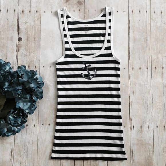 """j. Crew nautical favorite tank Navy and white striped with anchor on front. 100% cotton. Measurements lying flat: chest (under armpits) 11 inches and length 28 inches. Very stretchy.  ❌ No trades or off Poshmark transactions.   Quick shipping.   Offers welcome through """"Make an Offer"""" feature.    Bundle discount.   ❔ Feel free to ask any questions. J. Crew Tops Tank Tops"""