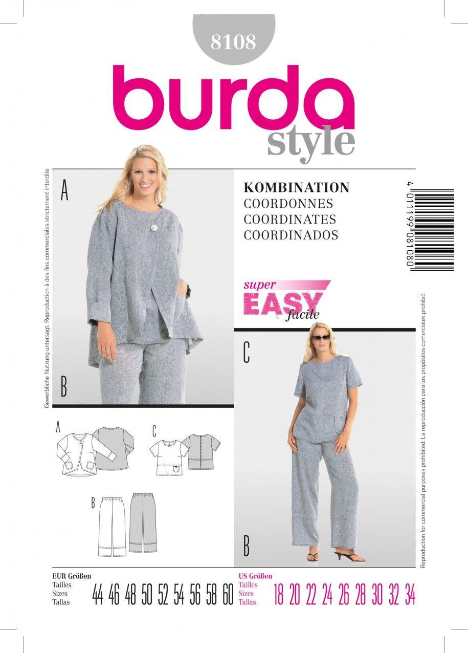 0ba01701cdf1 Burda B8108 Coordinates Sewing Pattern. Burda B8108 Coordinates Sewing Pattern  Plus Size Patterns ...