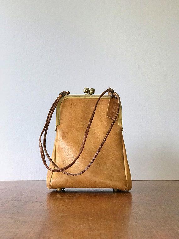 Uncommon Vintage Coach Double Kisslock   Kiss Lock Bag Purse Handbag Saddle  Brown
