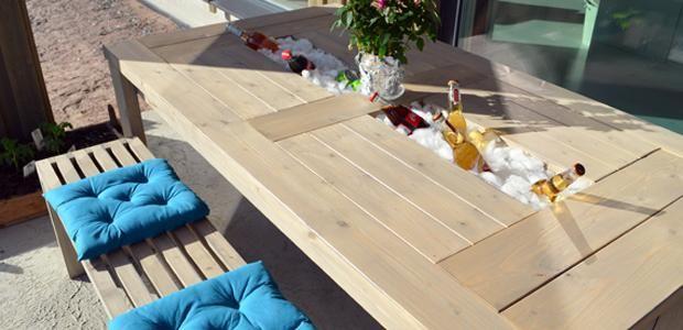 DIY pöytä, penkit ja keinu terassille