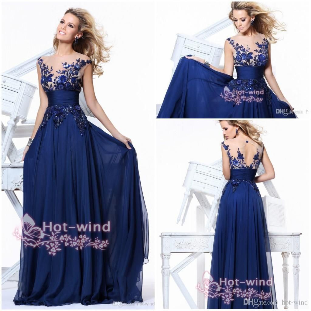 Royal blue prom dresses 2018 lace inspired