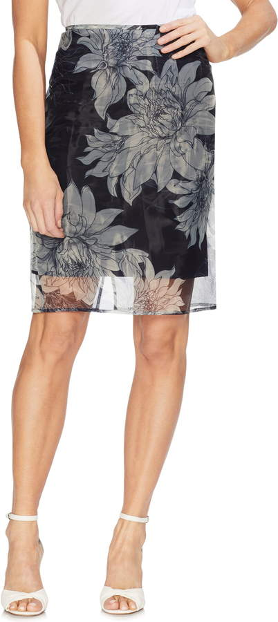 eff2254daa Vince Camuto Pagoda Blossoms Overlay Pencil Skirt | Products in 2019 ...