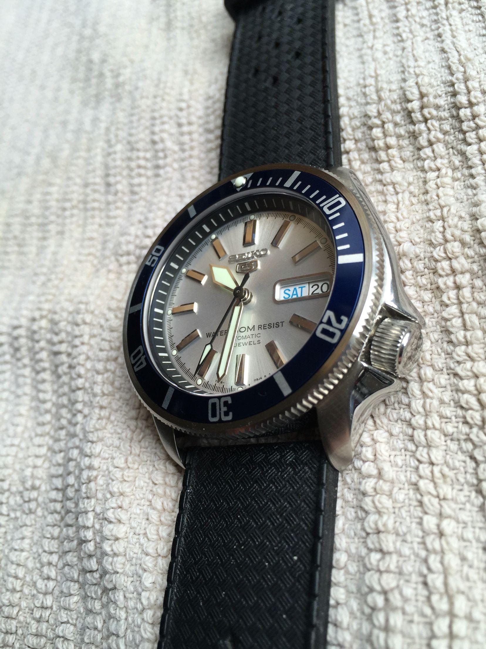 post mod one of a kind seiko skx 007 silver face diver seiko