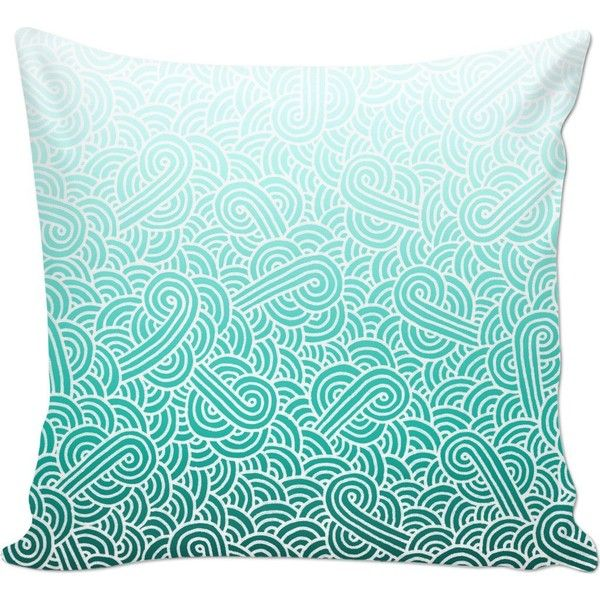 Ombre Turquoise Blue And White Swirls Doodles Couch Pillow 28