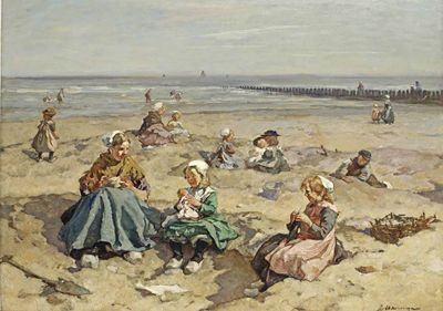 Akkeringa Jan | Young shell seekers on the beach | MutualArt