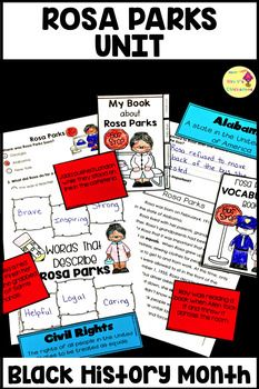 Black History Month:Rosa Parks Unit: teach students about the civil rights, bus boycott, segregation and more with the social studies unit
