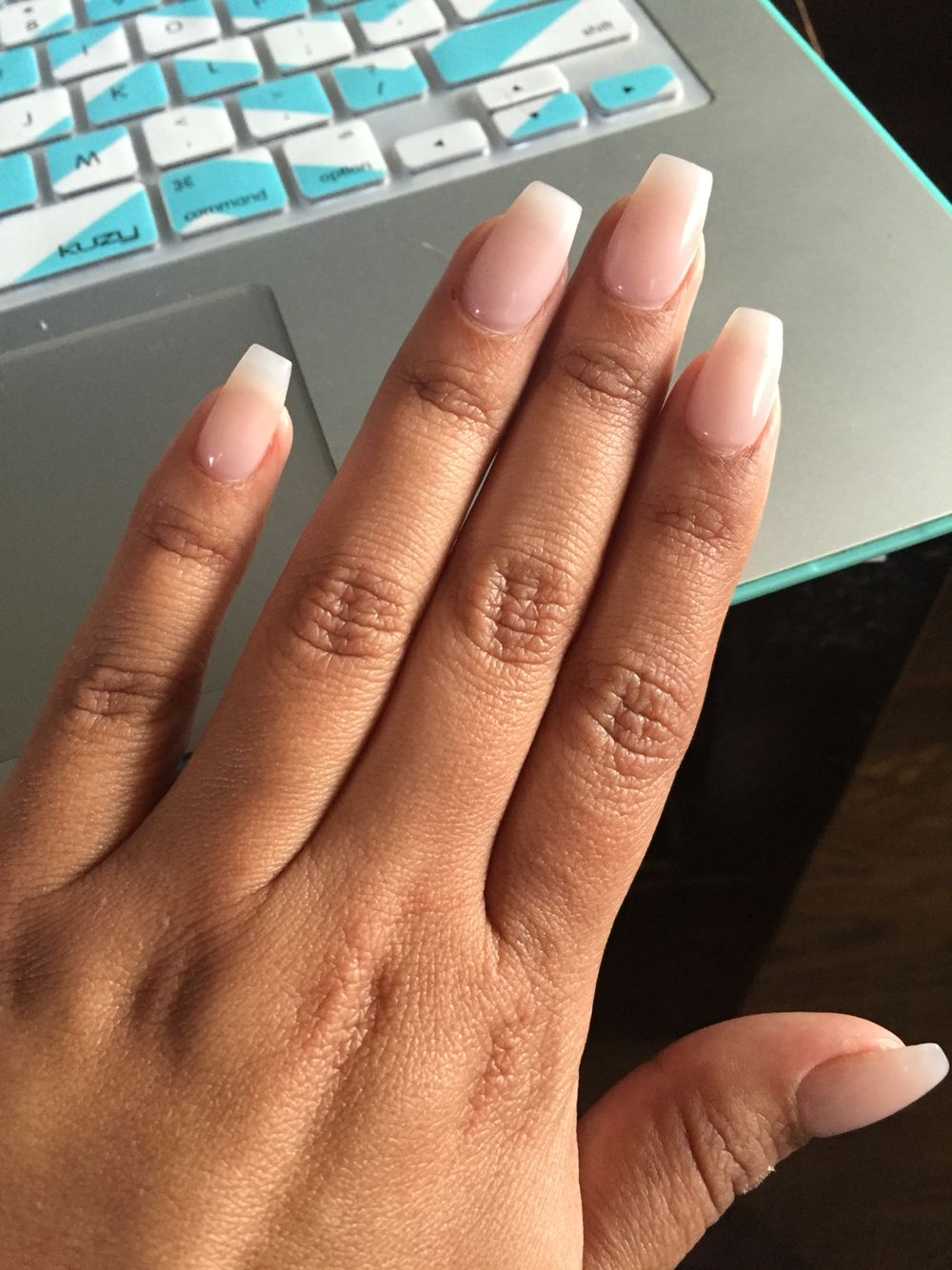 Coffin Short Nails I M In Love With A Natural Color Short Nails Ballerina Nails Baby Boomers Nails