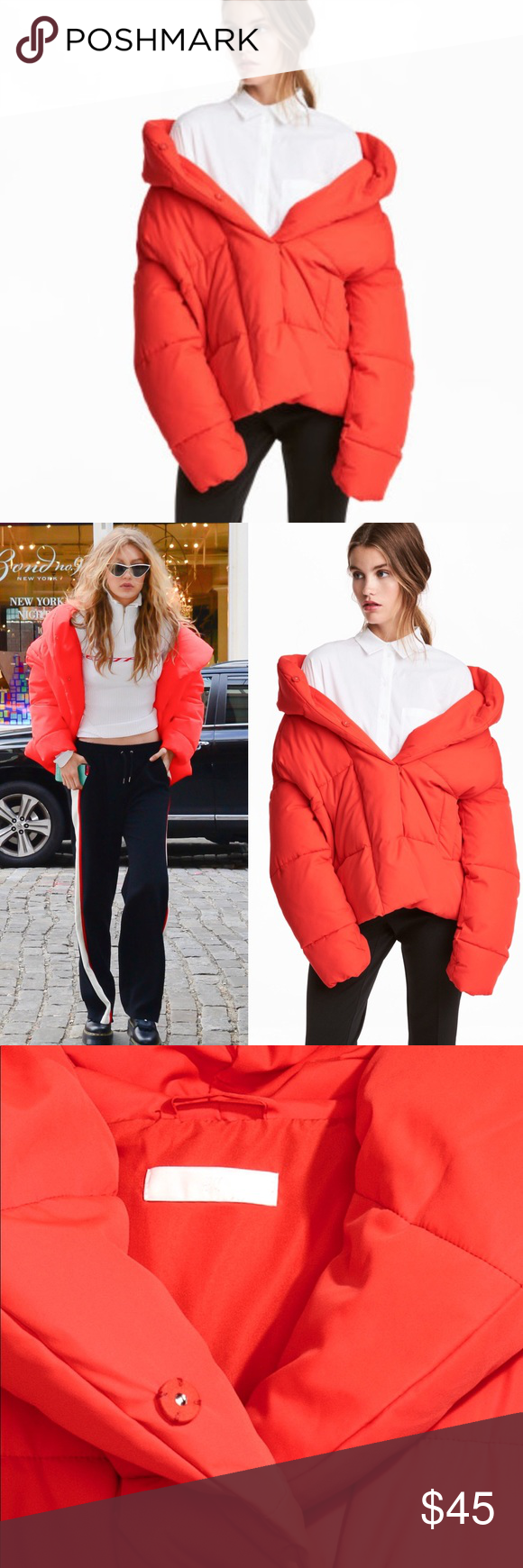Gigi Hadid H M Red Padded Puffer Jacket With Hood Hooded Jacket Jackets Puffer Jackets [ 1740 x 580 Pixel ]