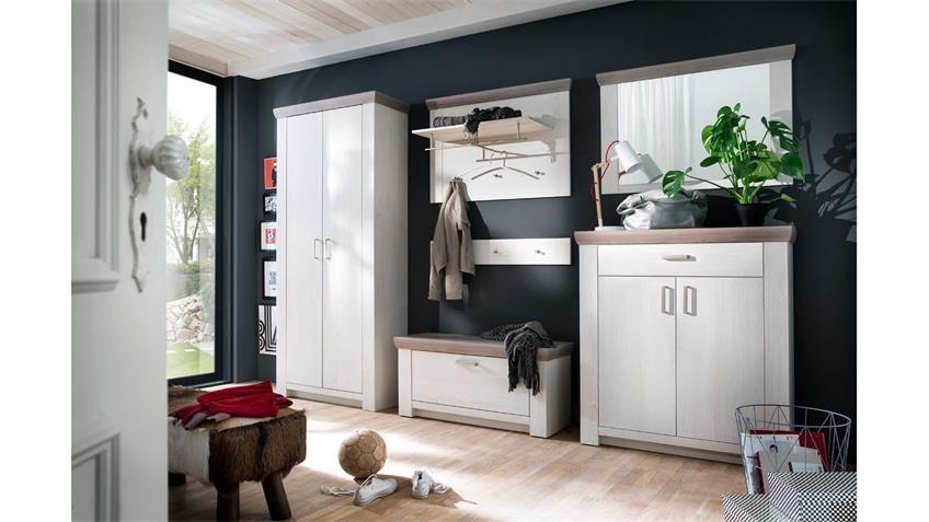 Garderobe 2 Bozen Flurmobel Komplett Set Pinie Weiss Und Eiche