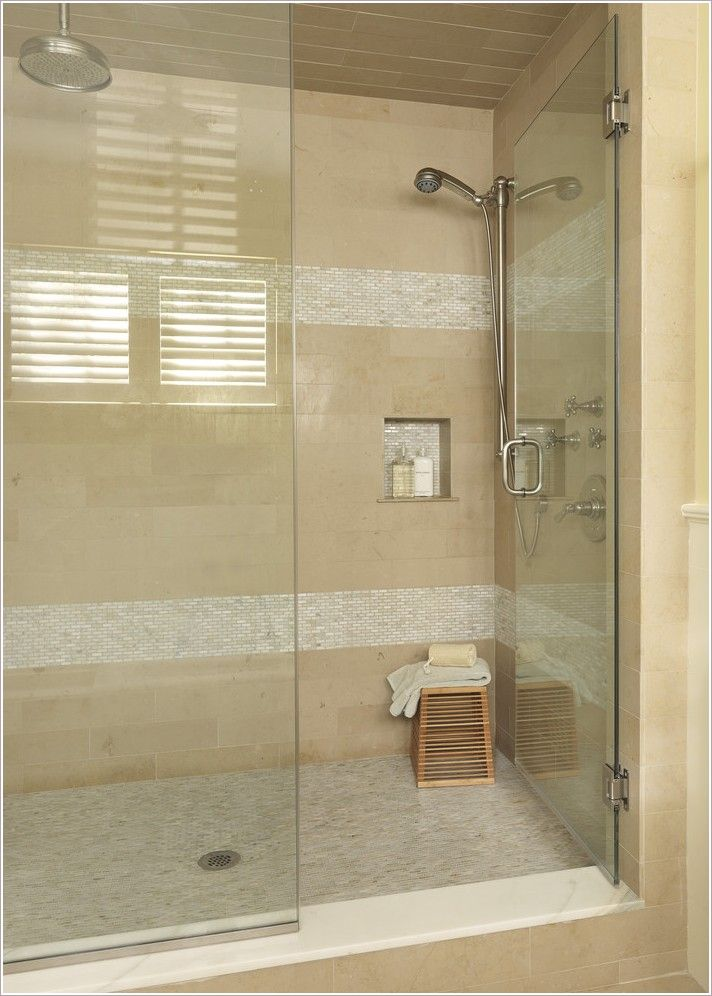 Bathroom Modern Boston Glass Shower Door Horizontal Stripes Mosaic Tiles  Neutral Colors Rain Shower Head Shower Accessories Shower Bench Shower  Fixtures ...