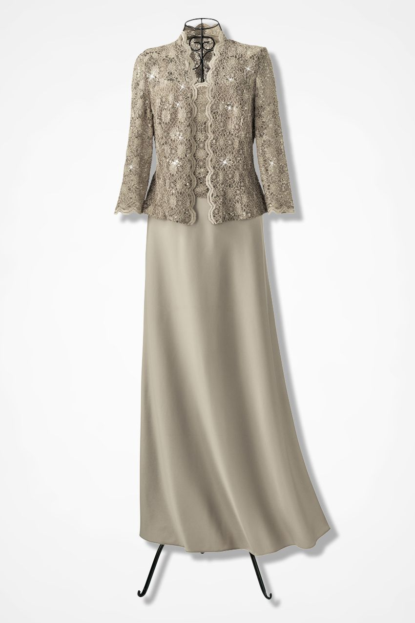 Sparkling Lace Jacket Dress by Alex Evenings, Champagne | Mothers ...
