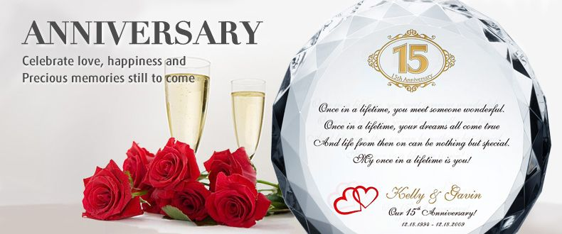 Engraved Crystal Wedding Anniversary Gifts For Every Year