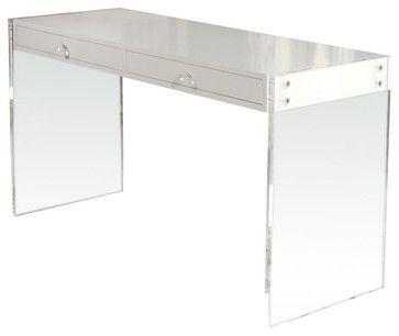 Custom Lucite Lacquered Desk Modern Desks By Pieces Lucite Desk Lacquer Desk White Lacquer Desk