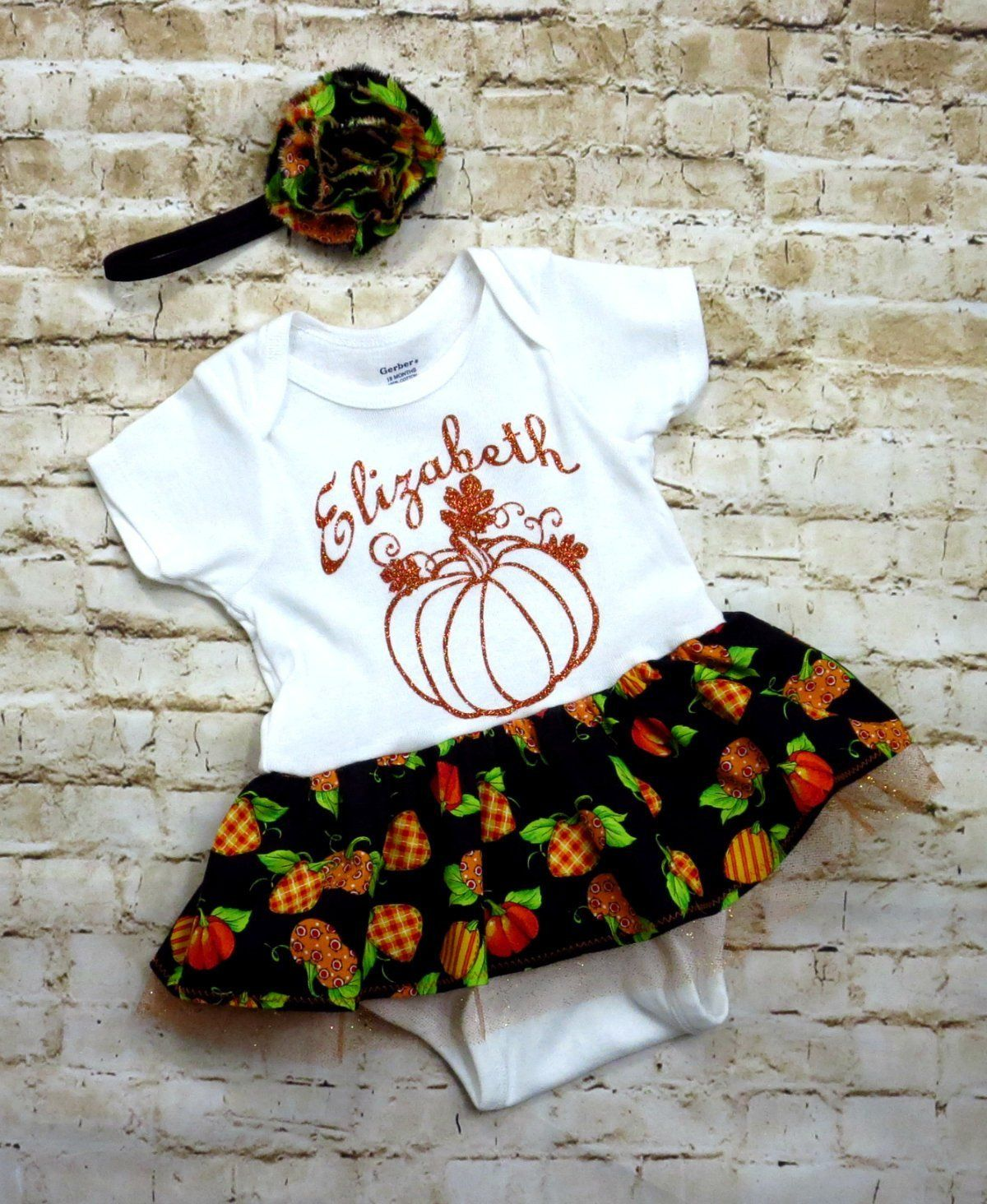 212b5e22b Personalized Thanksgiving Outfit for Baby Girls in sizes 0-36 mos ...