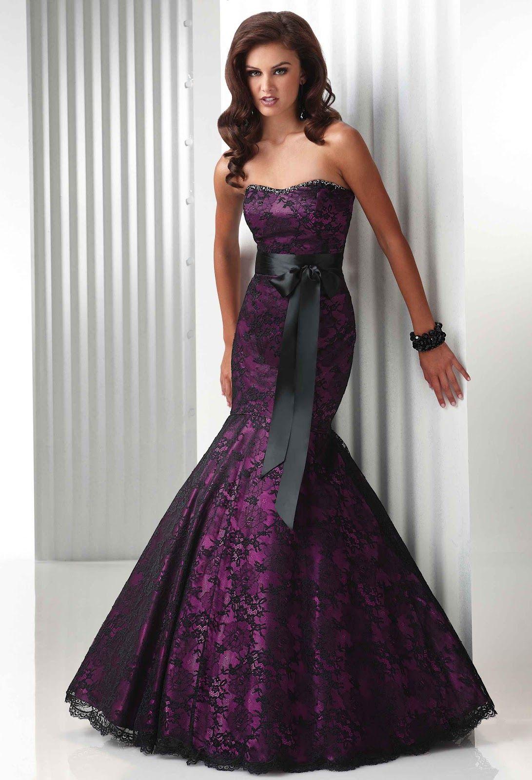 Attractive Mermaid Evening Dresses Purple Wedding Dresses Gowns Gothic Wedding Dress Black Lace Evening Dress [ 1600 x 1091 Pixel ]