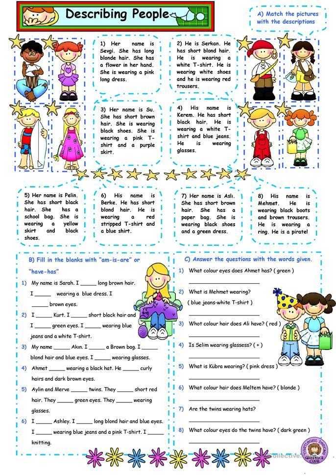 Describing People 2 Describing People Describing People Worksheet Describing People Worksheet For Kids