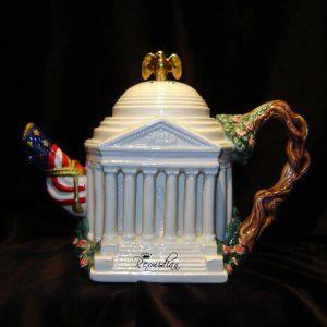 fitz+&+floyd   Fitz & Floyd - 1995 Jefferson Memorial Teapot - Ltd Ed