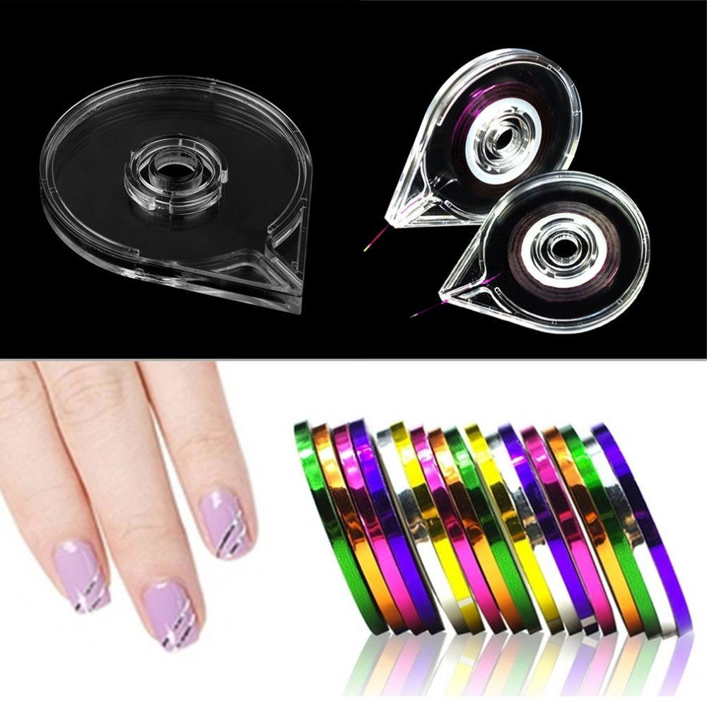 Simple Useful Nail Art Striping Tape Line Case Box Holder Tool ...