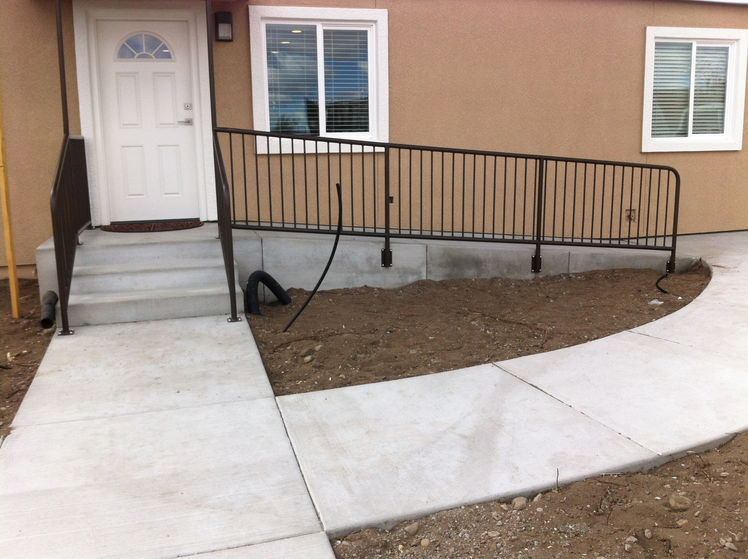 Stair Railing And Handicap Ramp Railing. Powder Coated Java Coffee.