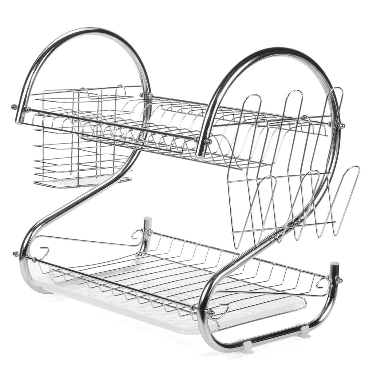 Multifunction 2 Tier Kitchen Dish Cutlery Drainer Rack Drip Tray Plate Holder Drain Shelf Hardware Accessories From Tools Industrial Scientific On Banggood Drip Tray Shelf Hardware Kitchen Dishes