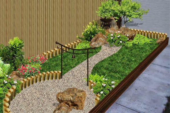 jard n patio fachada estilo chino con mampara bambu foto 2 On jardines chinos pequenos