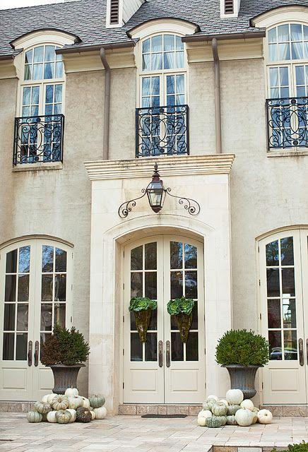 Exterior Siding Limestone Entry Pale Tan Brick Black Roof Off White Trim Trim On Windows