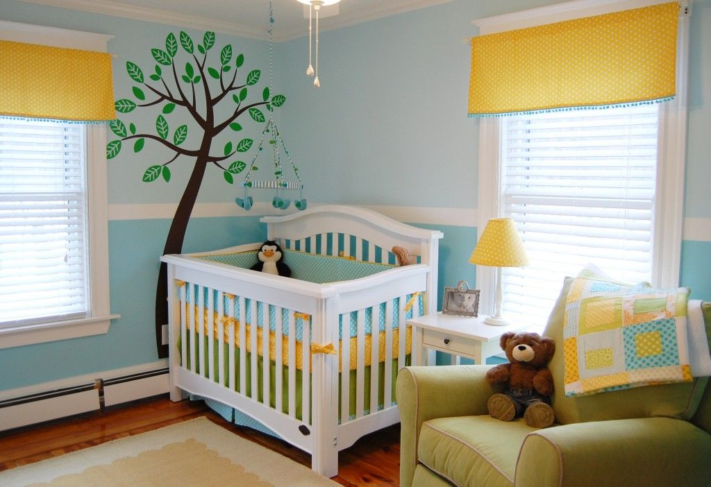 Bright and fun nurserys bright nursery and fun baby for Bright yellow bedroom ideas