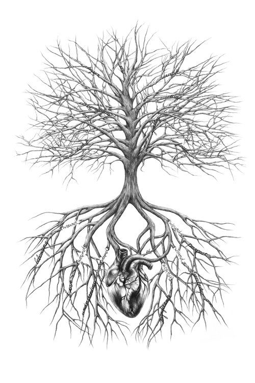 Tree And Heart Drawing Broken Roots Tree Roots Tree Branches Original Charcoal Drawing Of Tree Roots A Tree Of Life Artwork Roots Drawing Tree Tattoo Small