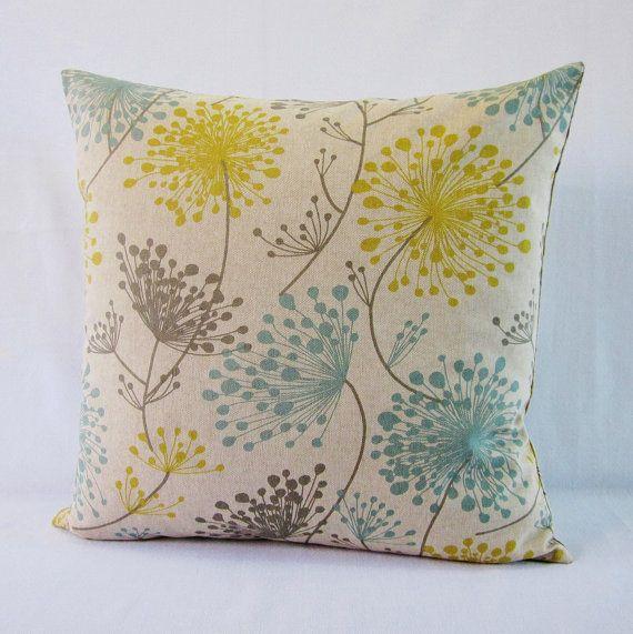 Floral Pillow Cover Gray Yellow Aqua Teal Botanical