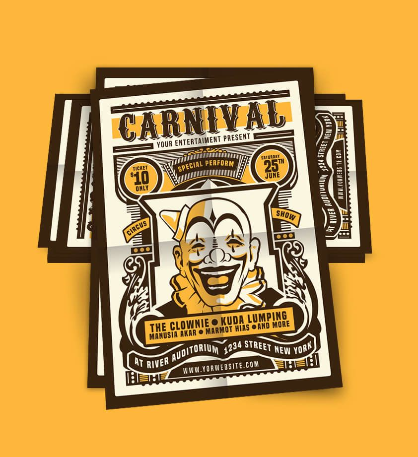 Vintage Circus Carnival Flyer Poster Template PSD