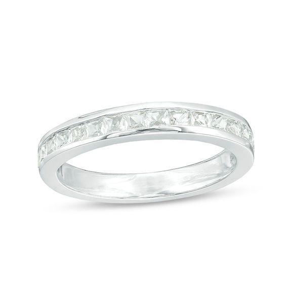 Platinum Sterling Silver Diamond Set White Sapphire Long Design Pave Band Ring
