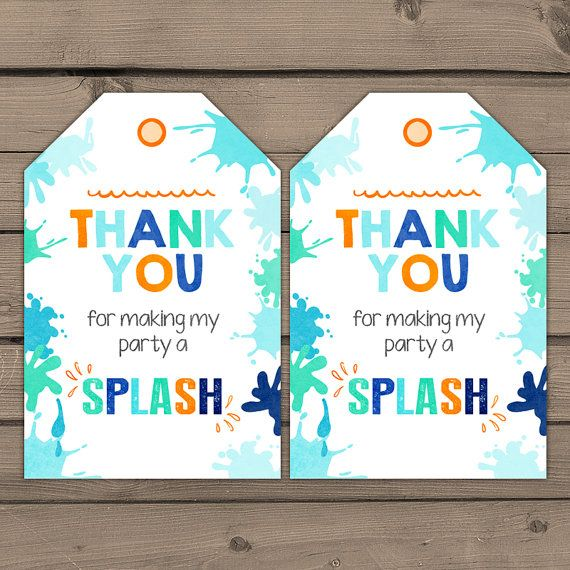 pool party favor tags pool birthday thank you by anietillustration