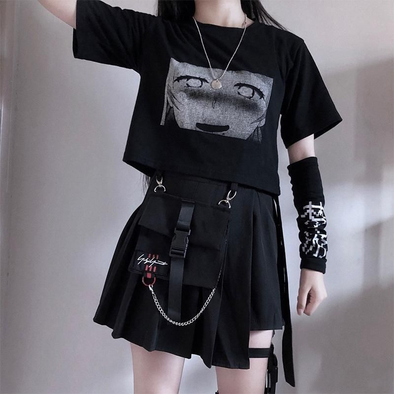 Pocket Irregular Skirt Fashion Harajuku Gothic Retro Chain