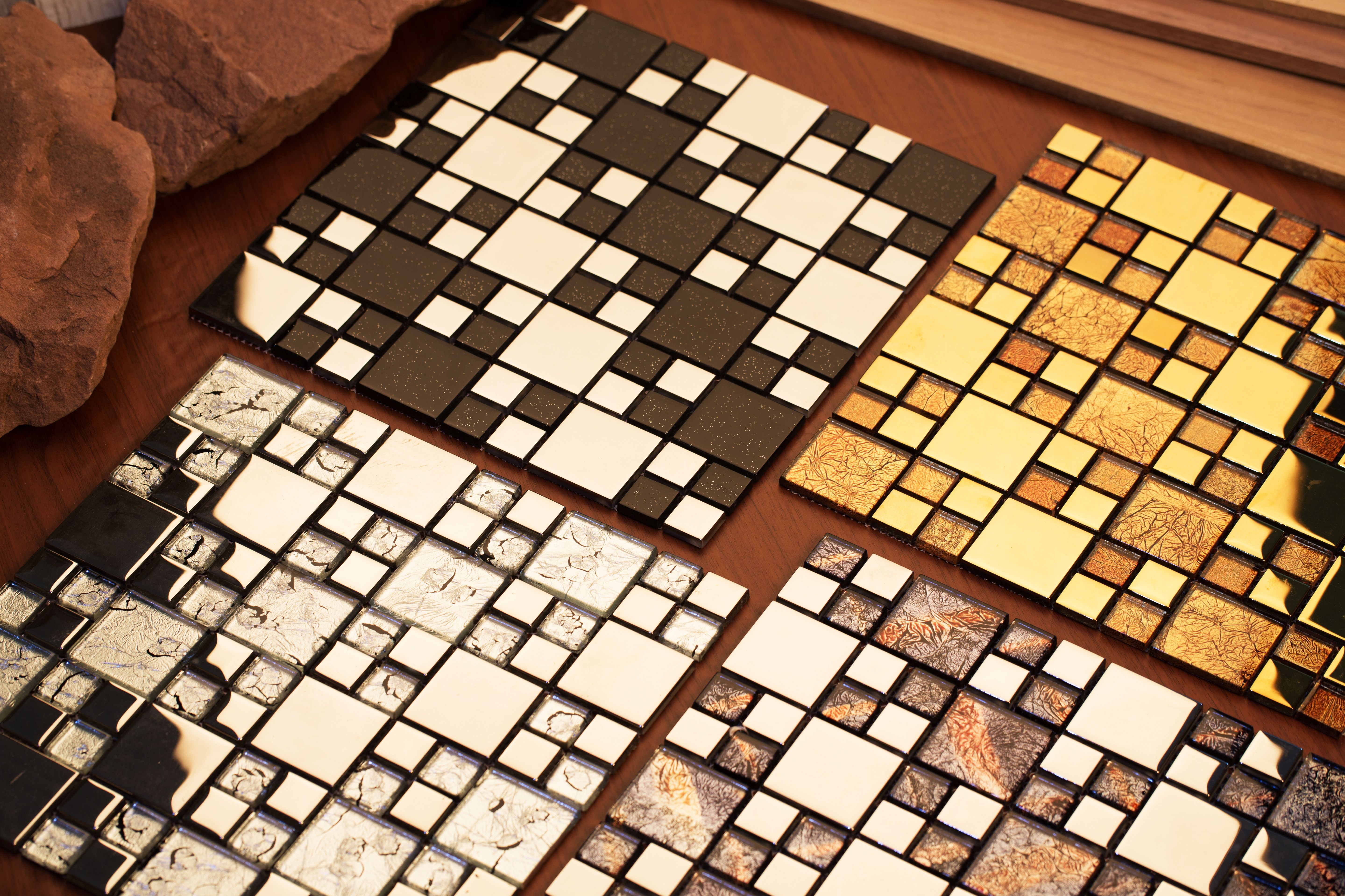 - Rousha Collection: A Stunning Mosaic Tile With Shiny Metal And