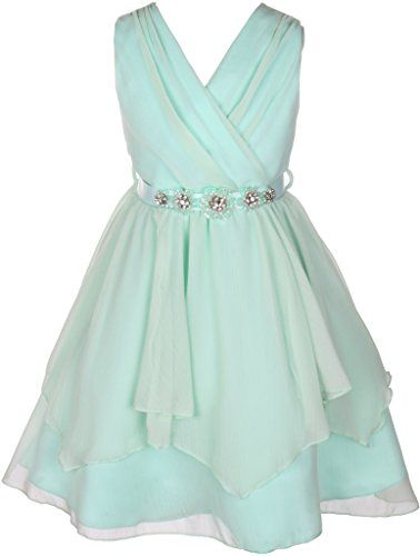 cc72c08de71 Dreamer P Chiffon Tulle V Neck Floral Belt Formal Princess Pageant Flower  Girl Dresses