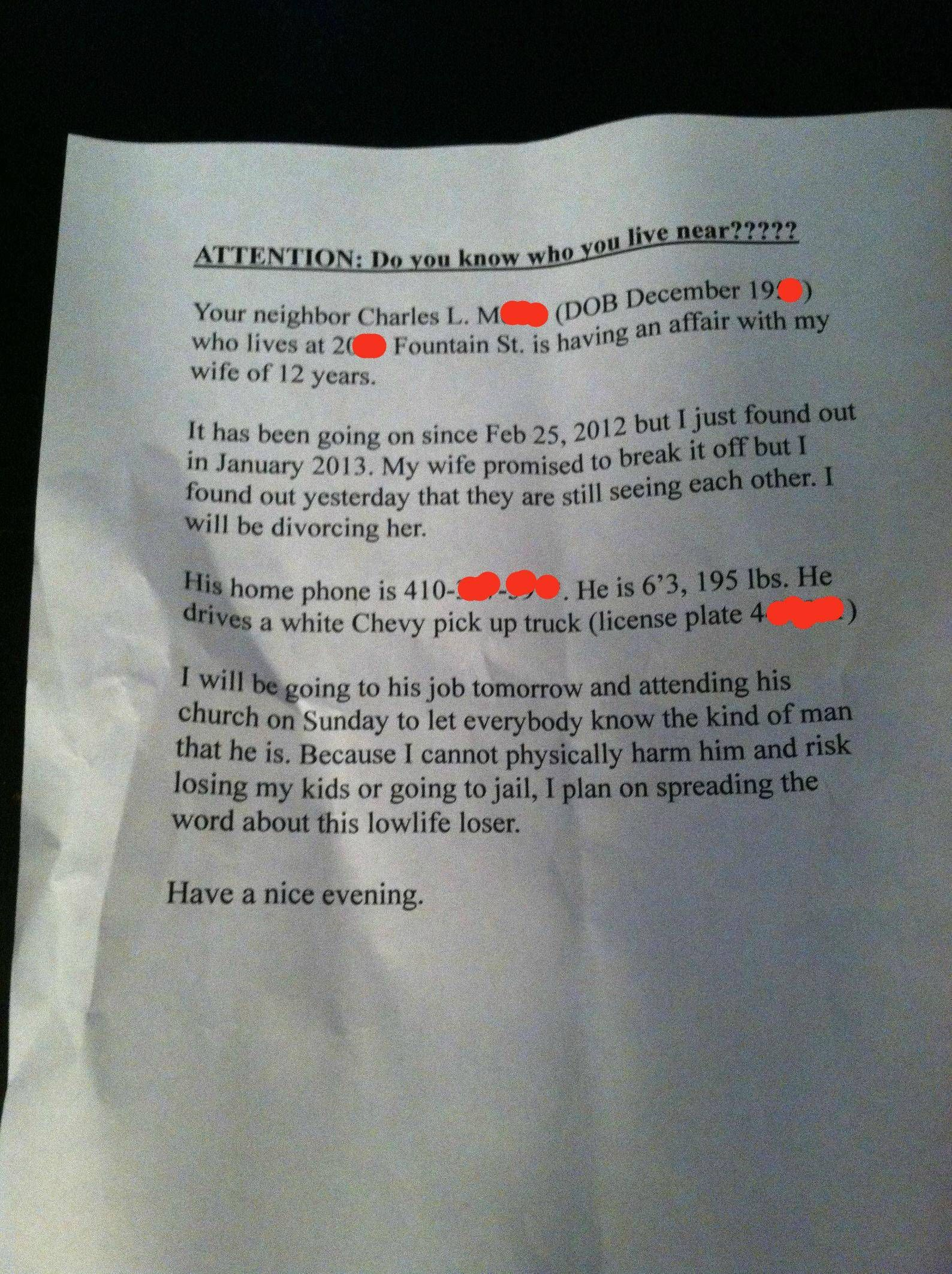 A Husbands Passive Aggressive Note To His Neighbors About His Cheating Wife