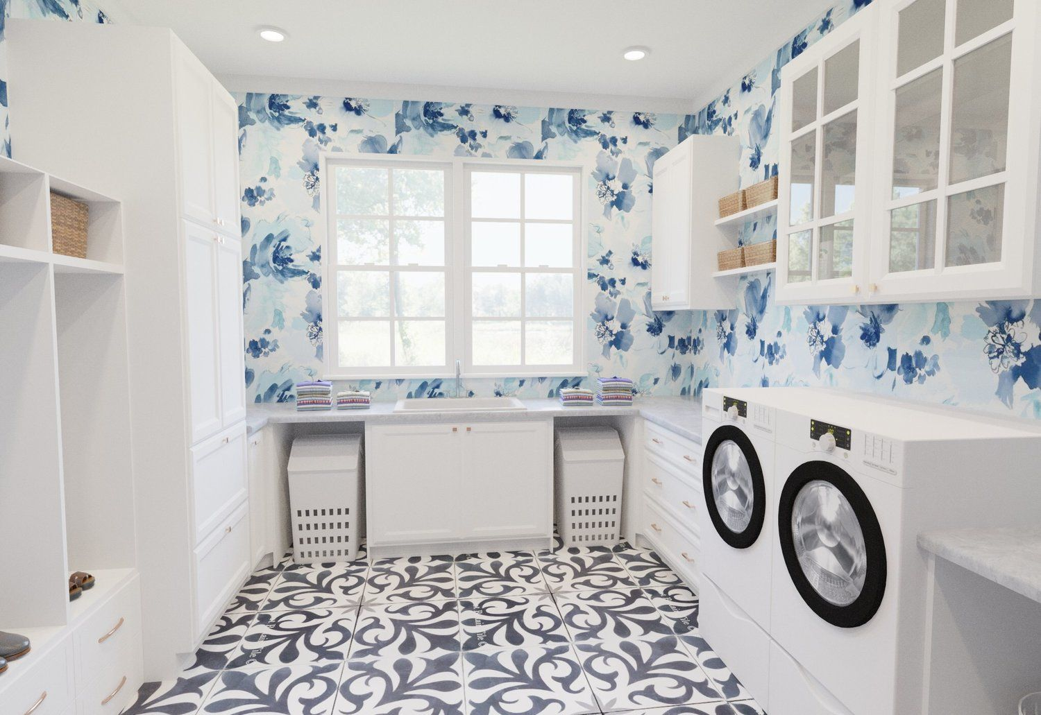 Asha Maia Design Interiors Events Laundry Room With Printed