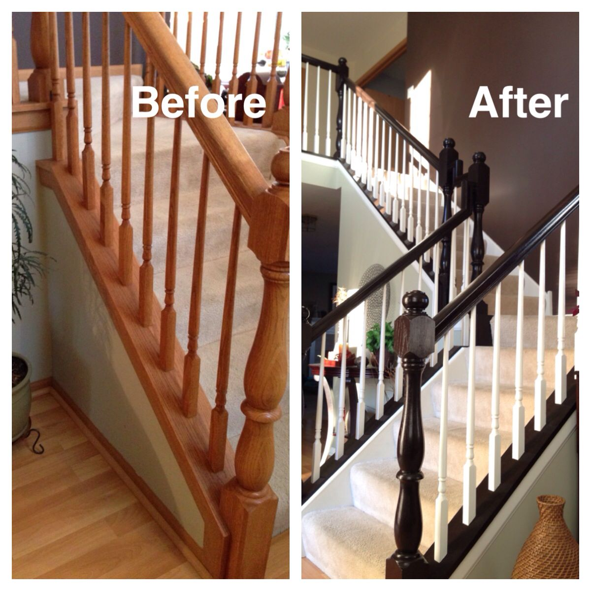 Best Honey Oak Stairs Redo General Finishes Java Gel Stain 400 x 300
