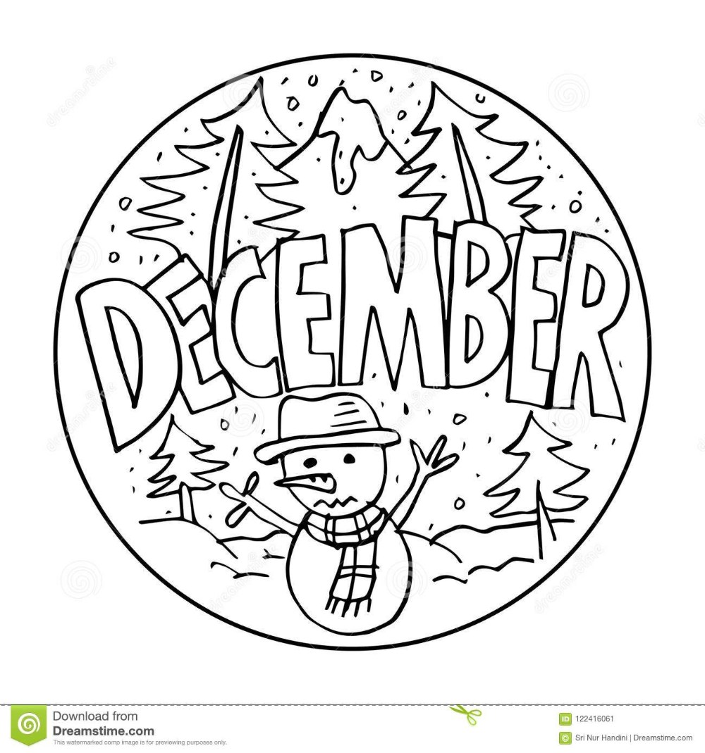 December Coloring Pages For Kids Stock Illustration Illustration Of Colouring Colorless Coloring Pages Coloring Pages For Kids Free Printable Coloring Pages