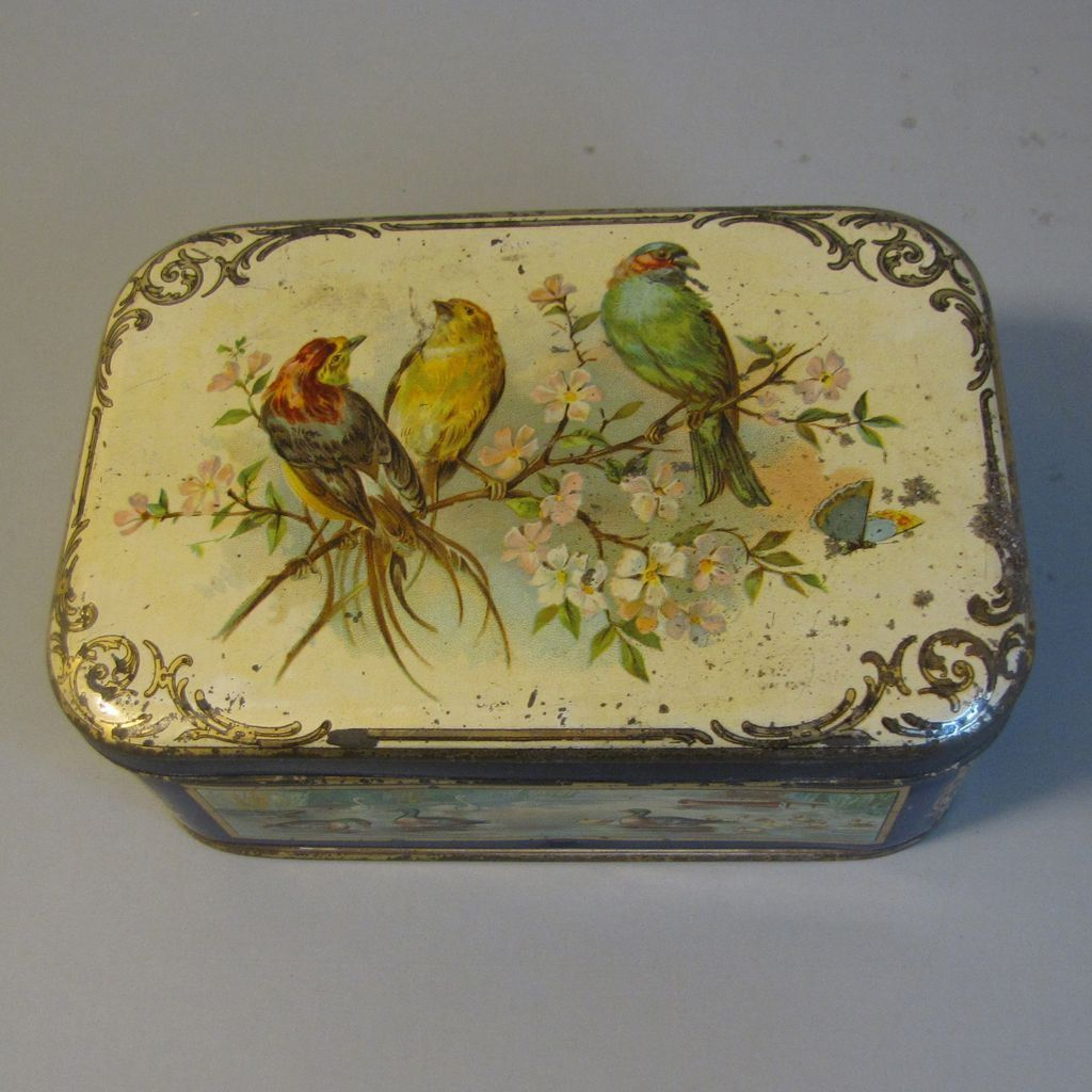 Decorative Cookie Containers Small Vintage European Biscuit Tin Birds Pretty Vintage